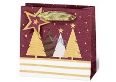 BSB Luxusní dárková papírová taška 14,5 x 15 x 6 cm Vánoční se stromky VDT 439-CD