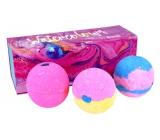 Bomb Cosmetics Watercolours Šumivý balistik do koupele vytváří paletu barev ve vodě 3 x 250 g, kosmetická sada