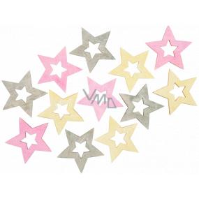 Hvězda dřevěná růžovo-žluto-šedá 4 cm 12 kusů