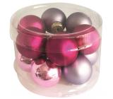 Baňky skleněné fialová sada 2,5 cm 12 kusů