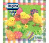 Regina Papírové ubrousky 1 vrstvé 33 x 33 cm 20 kusů Velikonoční zelené s kuřátky a vajíčky
