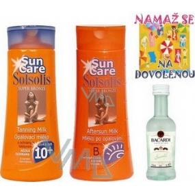 Bohemia Gifts Solsolis Sun Care OF10 opalovací mléko 250 ml, mléko po opalování 250 ml, Bacardi 5 cl