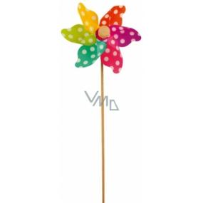 Větrník s barevnými lopatkami a puntíky 9 cm + špejle 1 kus
