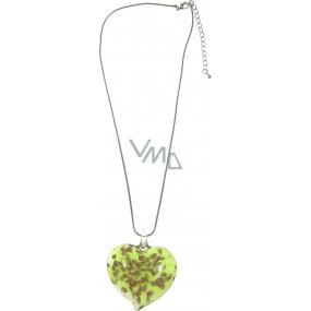 Bižuterie Náhrdelník stříbrný se skleněným zeleným srdcem 40 cm