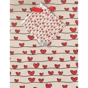 Nekupto Dárková papírová taška malá 14 x 11 x 6,5 cm malá srdíčka 961 02 BS