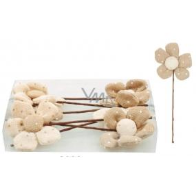 Zápichy květinky z béžovo-hnědé látky 12 cm v krabičce 6 kusů
