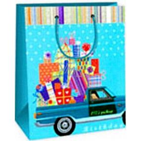 Ditipo Dárková papírová taška 18 x 10 x 22,7 cm modrá auto s dárky