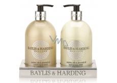 Baylis & Harding Jojoba, Hedvábí a Mandlový olej tekuté mýdlo dávkovač 500 ml + mléko na ruce dávkovač 500 ml, kosmetická sada