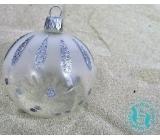 Irisa Baňky skleněné průhledné, stříbrně zdobené - puntíky, sada 7 cm 12 kusů