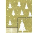 Nekupto Vánoční balicí papír Zlatý, bílé stromky 0,7 x 5 m