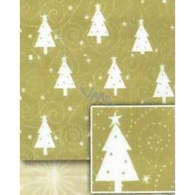 Nekupto Dárkový balicí papír 70 x 500 cm Vánoční Zlatý, bílé stromky