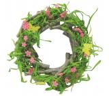 Věnec jarní zelený dřevěný z větviček 22 cm