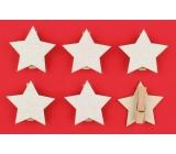 Dřevěné bílé hvězdy s glitry, na kolíčku 4,5 cm 6 kusů