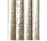Zöllner Vánoční Luxusní balicí papír s ražbou Scandi zlatý - černé hvězdy 1,5 m x 70 cm
