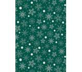 Ditipo Dárkový balicí papír 70 x 200 cm Vánoční zelený bílo-zlaté vločky
