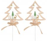 Strom dřevěný zápich přírodní 8 cm + špejle, 2 kusy