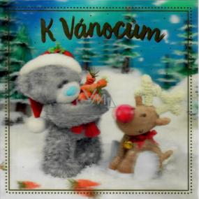 Me to You Blahopřání do obálky 3D Přání k Vánocům, Medvídek se sobem 15,5 x 15,5 cm