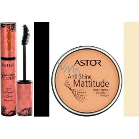 Astor Seduction Codes N2 Volume & Curve Mascara řasenka černá 10,5 ml + Astor Anti Shine Mattitude pudr 001 14 g, dárková sada