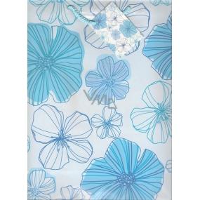 Nekupto Dárková papírová taška velká 32,5 x 26 x 13 cm Světle modrá s květy 846 40 BL