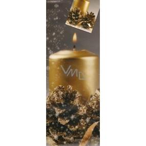 Nekupto Dárková papírová taška na láhev 663 02 WLH šedá Velká zlatá svíčka 33 x 10 x 9 cm