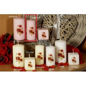 Lima Vlčí mák vonná svíčka růžová s obtiskem válec 40 x 90 mm 1 kus