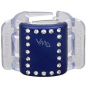 Linziclip Midi Vlasový skřipec modrý s krystalky 3,5 cm vhodný pro středně husté a husté vlasy 1 kus