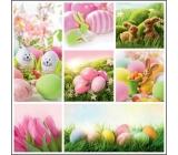 Velikonoční papírové ubrousky růžové tulipány, vajíčka, zajíčci 33 x 33 cm 3 vrstvé 20 kusů