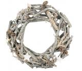 Veněc šedý dřevěný z větviček s baňkami 29 cm