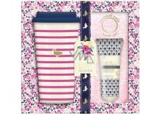 Baylis & Harding Lesní zvonek a Květinová louka cestovní hrnek + superměkké růžové ponožky + mléko na nohy 50 ml, kosmetická sada
