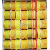 Ditipo Stuha látková s drátkem žluto oranžová, proužek 3 m x 25 mm