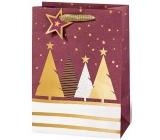 BSB Luxusní Vánoční dárková papírová taška velká vínová se stromky 36 x 26 x 14 cm VDT 439-A4