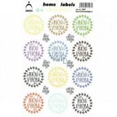 Arch Domácí etikety Home Labels samolepky Ruční výroba barevné 12 x 18 cm