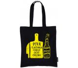 Nekupto Neplastuj Nákupní taška bavlna, Piva, tlačenka, cibule, ocet, chleba 38 x 40 x 10 cm