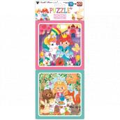 Puzzle Princezny 15 x 15 cm, 16 a 20 dílků, 2 obrázky