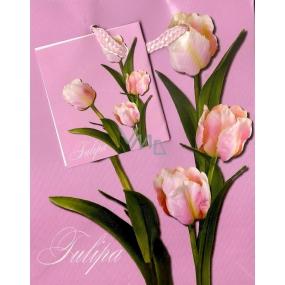 Nekupto Dárková papírová taška malá 14 x 11 x 6,5 cm Tulipány růžový podklad 1 kus 597 30 BS