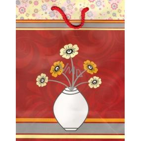 Nekupto Dárková papírová taška velká BL Kytka ve váze 32,5 x 26 x 13 cm