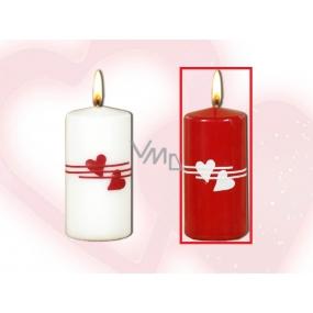 Lima Valentýnská svíčka srdíčka červená válec 50 x 100 mm 1 kus