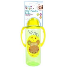 First Steps Jungle Opička 0+ kojenecká láhev s úchopy 250 ml