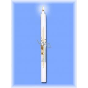 Lima Kostelní křestní - Sv.Přijímání svíčka bílá zdobená modro-zlatě kalich 25 x 360 mm