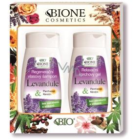 Bione Cosmetics Levandule regenerační šampon na vlasy 260 ml + relaxační sprchový gel 260 ml, kosmetická sada