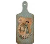 Bohemia Gifts & Cosmetics Dekorativní prkénko Retro dáma v modrém 28 x 12 cm