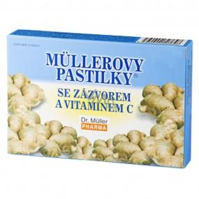 Müllerovy pastilky se zázvorem a vitamínem C při prochladnutí, žaludečních potížích pro nevolnosti při cestování 12 kusů