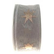 Ditipo Stuha látková s drátkem šedá měděné hvězdy 3 m x 25 mm