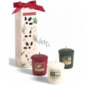 Yankee Candle Magical Christmas Morning Singing Carols - Zpívání koled + Holiday Hearth - Sváteční krb + Surprise Snowfall - Sněhové překvapení vonná svíčka votivní 3 x 49 g, vánoční dárková sada