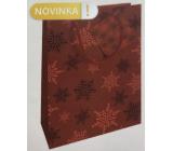 Nekupto Dárková papírová taška 14 x 11 x 6,5 cm Vánoční červená vločky WBS