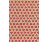 Ditipo Dárkový balicí papír 70 x 200 cm KRAFT Růžová kolečka