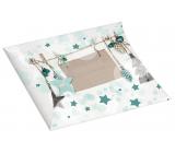 Krabička skládací dárková Vánoční s modrými ozdobami a glitrem 33 x 25 cm