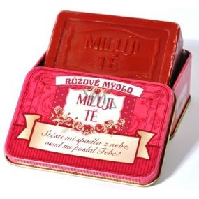 Albi Růžové mýdlo v plechovce s textem Miluji Tě 8 x 5,4 cm