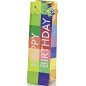 BSB Luxusní dárková papírová taška na láhev 36 x 10,5 x 10 cm Happy Birthday LDT 290-F