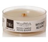 WoodWick White Honey - Bílý med vonná svíčka s dřevěným knotem petite 31 g